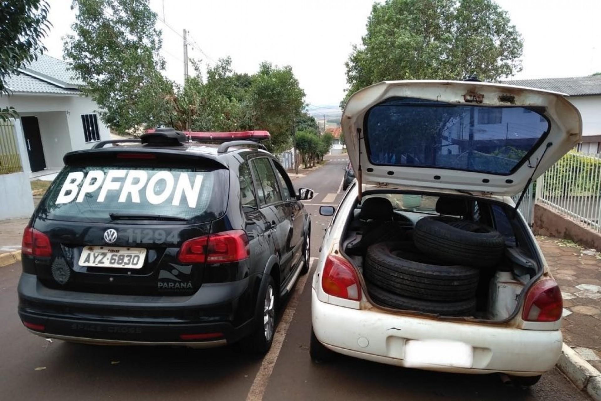 BPFron apreende veículo carregado com pneus contrabandeados em Missal