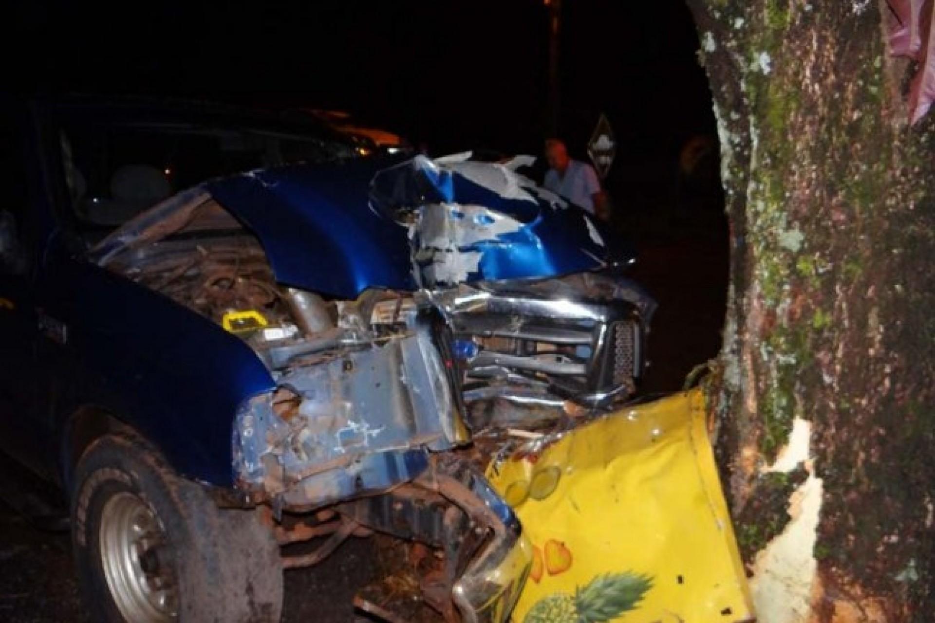 Condutor colide F-250 em árvore e fica ferido no distrito de Moreninha em Santa Helena