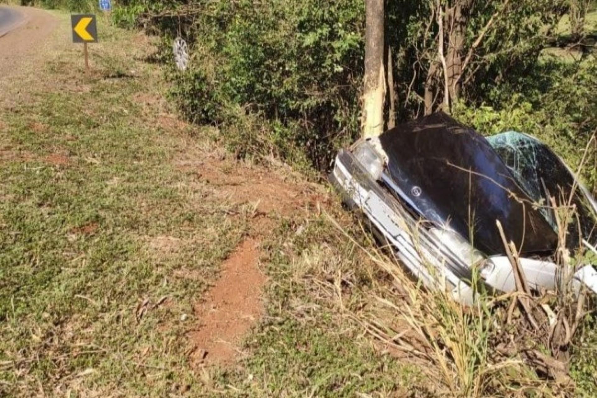 Condutor embriagado colide veículo contra árvore na PR-497, em Missal
