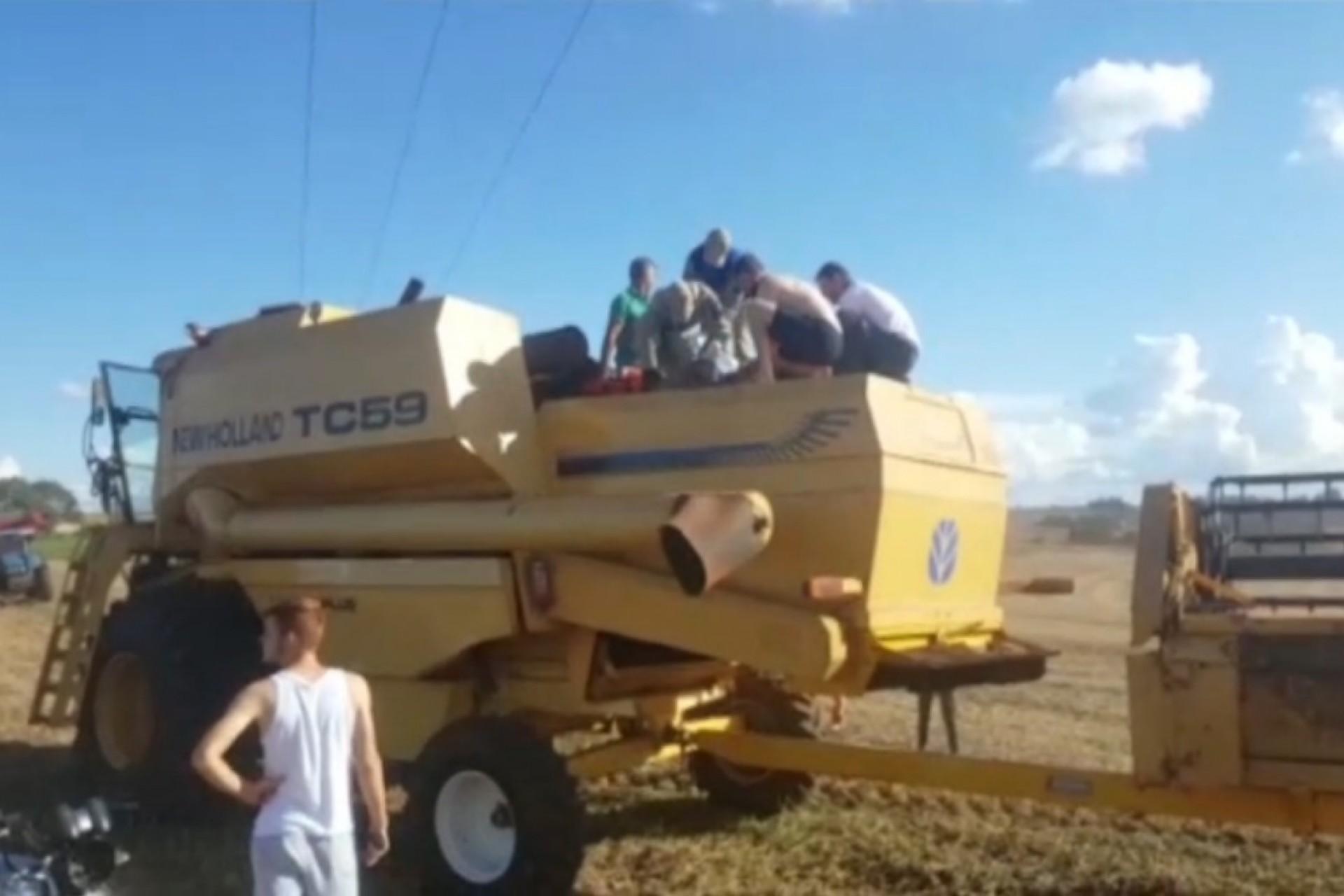 Enquanto realizava colheita, homem encosta na rede de alta tensão e fica em estado grave