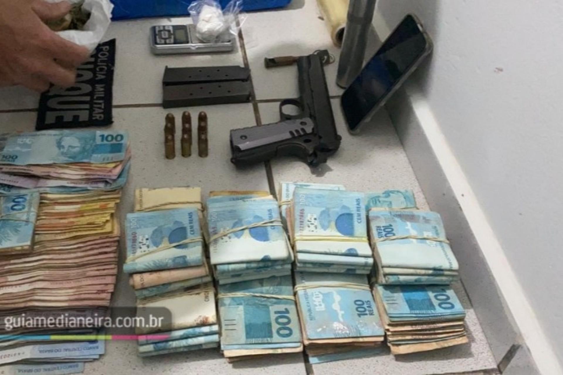 Itaipulândia: Polícia Militar apreende drogas, dinheiro e arma em abordagem em bar