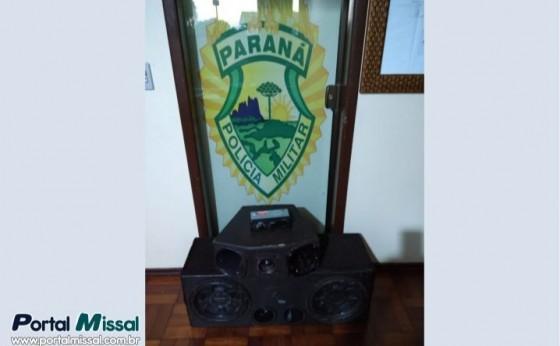 Após denúncia de perturbação de sossego, PM apreende equipamento de som em Missal