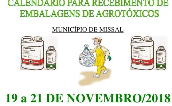 Calendário para recebimento de embalagens de agrotóxicos