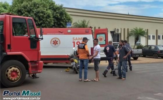 Caminhão e Moto se envolvem em acidente no centro de Missal