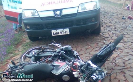 Colisão frontal entre motos deixa dois feridos em Missal