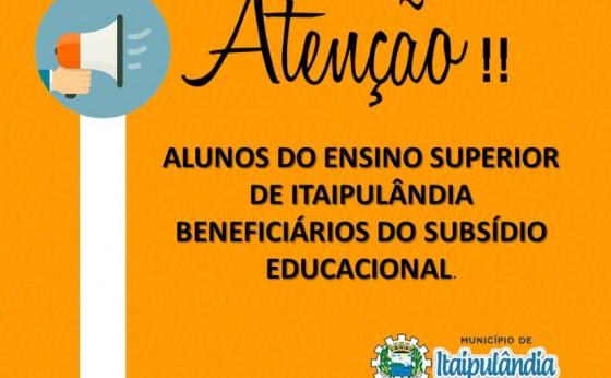 Comunicado aos alunos de ensino superior de Itaipulândia