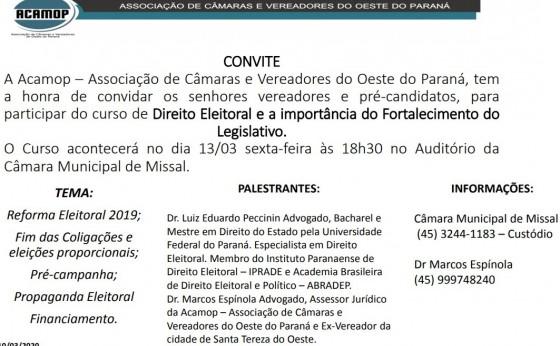 Curso de Direito Eleitoral e Importância do Fortalecimento do Legislativo será ofertado em Missal