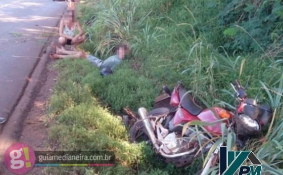 Duas pessoas ficam feridas em queda de moto na rodovia PR 495 entre Medianeira e Missal
