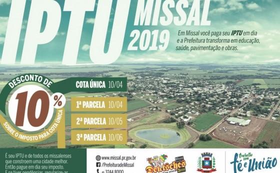 Estão disponíveis as Guias do IPTU 2019 em Missal