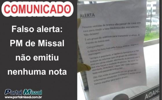 Falso alerta: PM de Missal não emitiu nenhuma nota