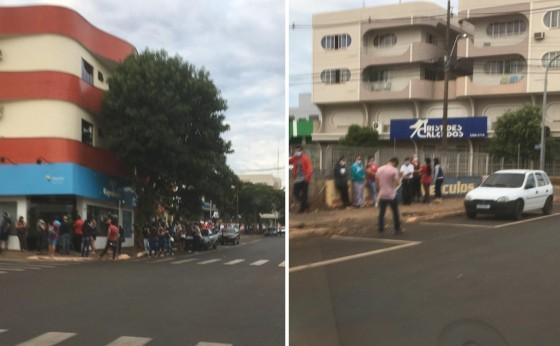 Fila para saque do auxílio emergencial dobra quarteirão em Medianeira