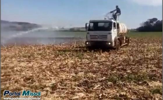 Lavoura pega fogo no início da tarde em Itaipulândia