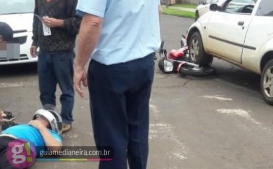 Medianeira: Bombeiros socorrem motociclista ferido em acidente no Bairro Cidade Alta
