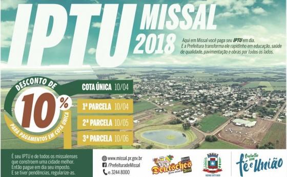 No dia 10 de abril é o vencimento do IPTU para quem optar pagar em parcela única.