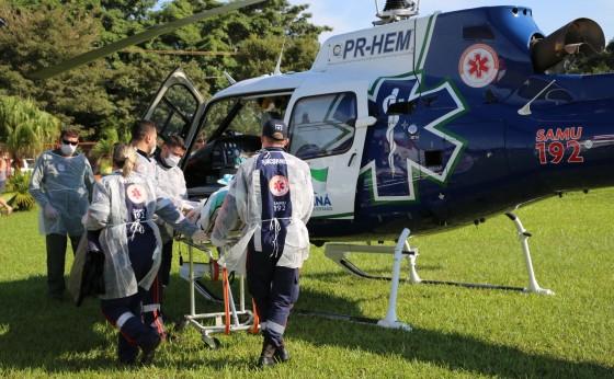 Paciente com meningite é transferido de helicóptero em Itaipulândia