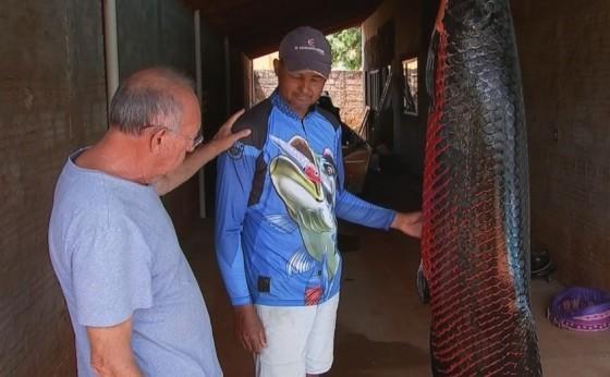 Pescador fisga peixe pirarucu de 110 quilos em Cardoso