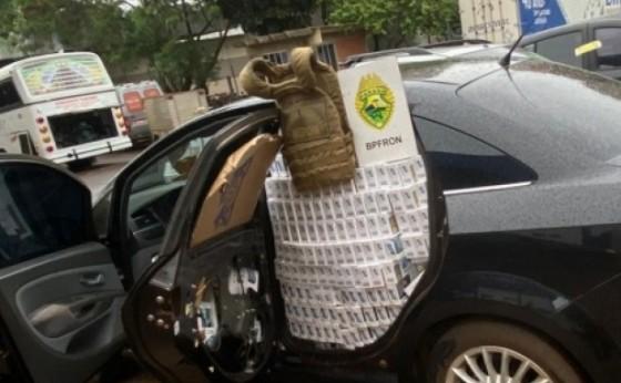 Policiais federais e do BPFRON apreendem veículo carregado com cigarros em Itaipulândia