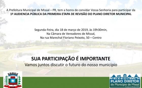 População de Missal é convidada a participar de Audiência Pública para Revisão do Plano diretor