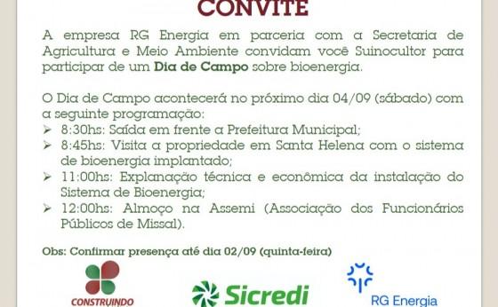 Produtores de Suínos de Missal poderão participar de Dia de Campo sobre Bioenergia no próximo sábado
