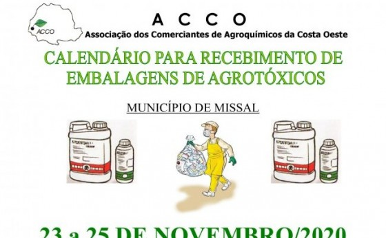 Secretaria de Agricultura e Meio Ambiente de Missal divulga calendário de recebimento de embalagens