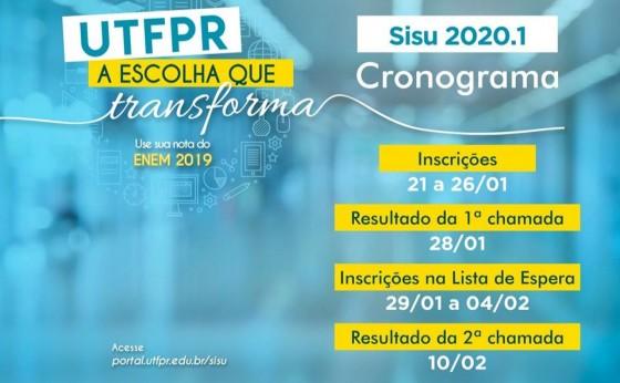 SISU -  Inscrições abertas até 26 de janeiro: Mais de 4 mil vagas para os cursos da UTFPR