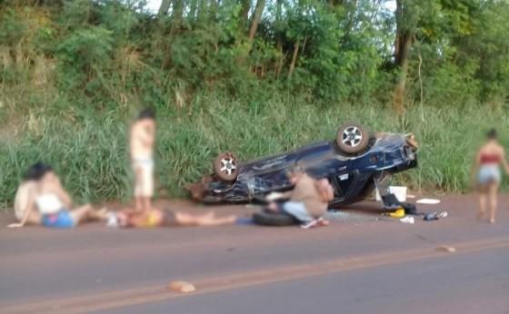 Um acidente foi registrado na PR 495 próximo a curva do rio São Vicente em Missal