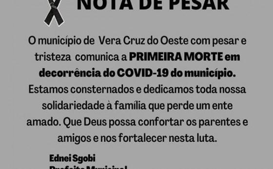 Vera Cruz do Oeste confirma primeiro óbito em decorrência da Covid-19